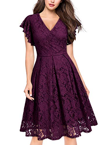 MISSMAY Women's Vintage Floral Lace Ruffle V Neck Cocktail Party Swing Dress Medium Magenta