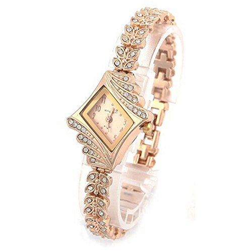 WM & MW Ladies Watches, Fashion Crystal Diamond Rhombus Bracelet Bangle Quartz Wrist Watch for Women (Gold)