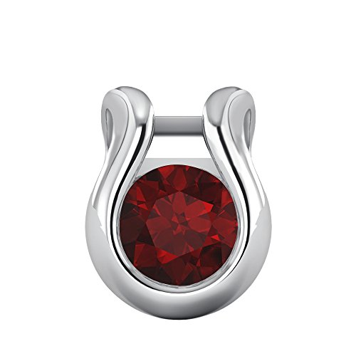 10k Gold Ruby Pendant (1/2 Ct Round Cut Gemstone Solitaire Bezel Set Pendant In Solid 10K White Gold For Valentine's Day (Ruby))