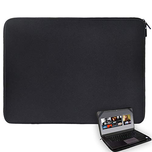 17 17.3 17.4 inch Laptop Sleeve Black Water-Resistant Neoprene Notebook Computer Briefcase Carrying Bag/Pouch Cover with 4 Elastic Bands for Acer/Asus/Dell/Lenovo/HP/Toshiba/MSI ()
