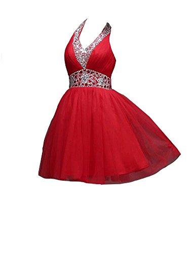 Cocktail emmani V Perlen Kleider Organza Ausschnitt Rot Damen xrXqnrR