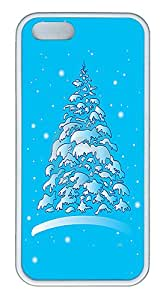 ICORER Luxury iPhone 5S Cases Christmas Winter Tree In The Snow Case Cover for Apple iPhone 5 5S TPU White