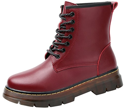 CFP 909 Womens New Fashion Leisure Sweet Lovely Flat Plus Warm Wool Pretty Walking Platform Lace Up High Top Boots Red