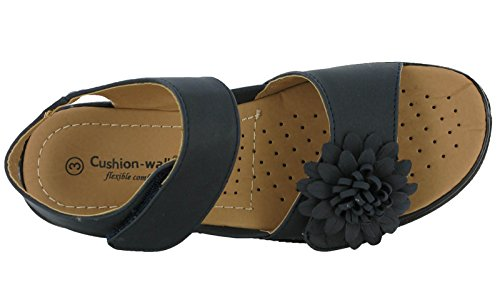 Womens Ladies Cushion Walk Flower Touch Fastening Velcro Summer Sandals UK 3-8 Navy CastDg