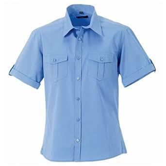 "Russell Collection Mens Short / Roll-Sleeve Work Shirt (S (Collar 14.5-15"")) (Blue)"