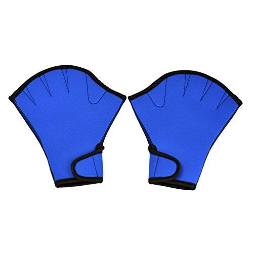 Umermaid Training Swimming Gloves Fingerless Webbed Water Resistance Neoprene 1 pair(Bule, Large)