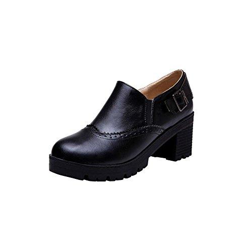 Carolbar Women's Retro Concise Buckle Mid Heel Elastic Loafer Shoes Black hfpZnasOO