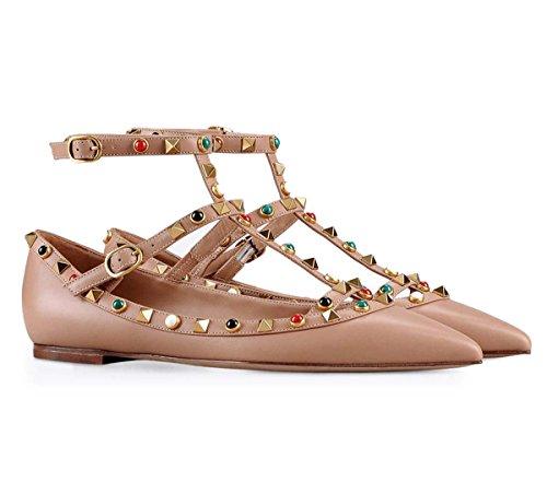 Américaines De 3 Européennes Simples Dames Fermoir Plates Extérieur Chaussures Chaussures Commerce Couleur Pointu Ongles Et Rivets De GONGFF 5Xw1TqF5