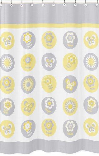 Sweet Jojo Designs Yellow, Gray and White Mod Garden Girls Kids Flower and Butterfly Bathroom Fabric Bath Shower Curtain