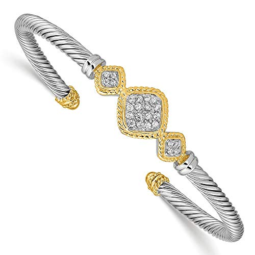 925 Sterling Silver Vermeil Cubic Zirconia Cz Link Rope Design Bangle Bracelet Cuff Expandable Stackable Fine Jewelry Gifts For Women For Her