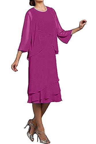 Marie Abendkleider Pink Brautmutterkleider Knielang Partykleider mit Schwarz La Braut Bolero Damen Promkleider 6w7dTXq