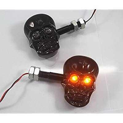 PerfecTech Motorcycle 10mm Screw Skull Head LED Amber Turn Signal Indicator Light (Black): Automotive