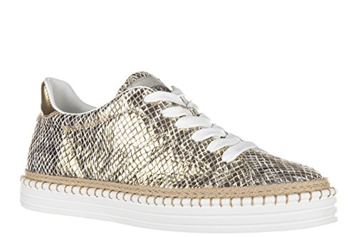 Hogan Rebel chaussures baskets sneakers femme en cuir rebel r260 or