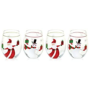 Amazon.com | Christmas Presents Set of 4 Hand Painted Stemless ...