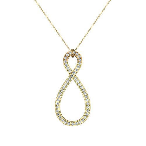 Glitz Design 1.15 ct Twisted Loop Diamond Pendant 14K Yellow Gold with 20