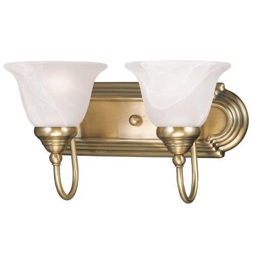 Livex Lighting 1002-01 Belmont 2-Light Bath Light, Antique Brass