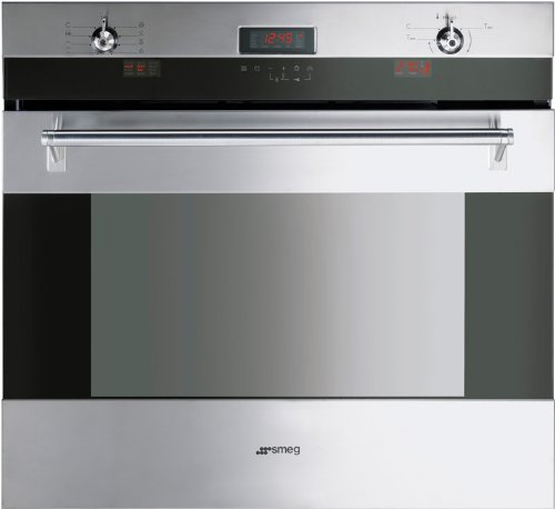 Smeg SOU330X 30″ Classic Series Single Electric Wall Oven with 4.34 cu. ft Convection Oven Self-Clean Multiple Cooking Functions Sabbath Mode Telescopic Racks and Meat Probe in Stainless