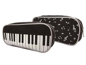 ARREGLOS MUSICALES grande delante del teclado Negro y las notas musicales de nuevo diseño de la cremallera de la bolsa del caso de lápiz