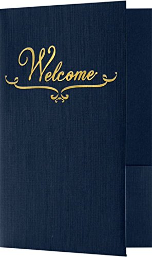 (Welcome Folders - Gold Foil Stamped Design - Dark Blue Linen (25 Qty) | Perfect for Hotel Welcome Baskets, Wedding Programs, Simars, Brochures and so Much More! | Two Pockets | WEL-DDBLU100-GF-25)