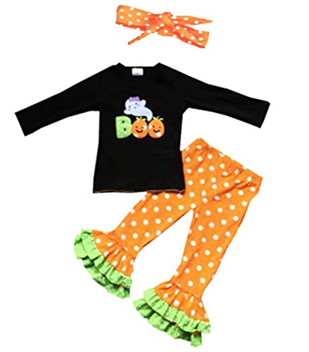 Infant Baby Girls Pumpkin Outfit 3pc Halloween Party Ruffle Pant Set