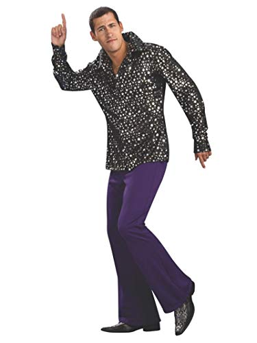 80s Halloween Costumes Guys (Rubie's Men's Adult Costume Disco Shirt, Black/Silver,)