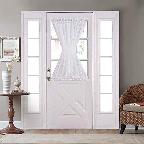 HOME BRILLIANT Privacy Curtains Door Semi Sheer Window Curtains Front Door Curtain Panels White Bouns Tie Backs, 54