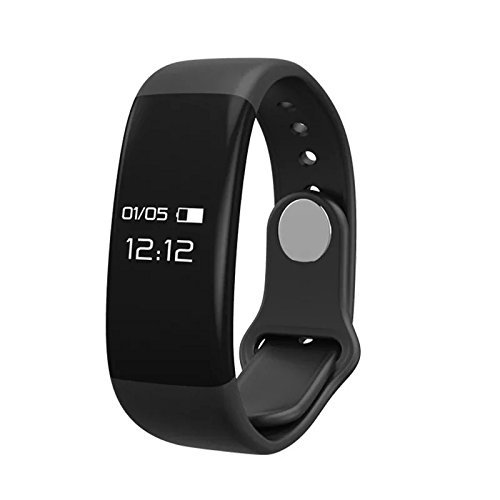 Fitness Tracker Smart Watch,Waterproof with Heart Rate Monitor Step Time Distance Calorie Run Camara Music Information Turn Off Silicon Band for Android Or iOS Black