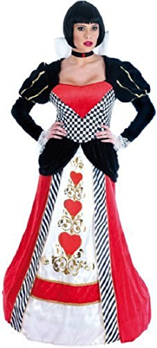 Ladies Deluxe Queen of Hearts Alice in Wonderland Long Length Hooped Hem Halloween Book Day Fairy Tale Fancy Dress Costume Outfit UK 6-26 Plus Size (UK 20-22) Red/Black ()