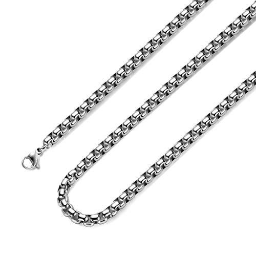Bowisheet 3MM Square Rolo Chain Stainless Steel Round Box Chain Necklace Men Women Jewelry