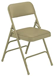 National Public Seating 1300 Series Steel Frame Upholstered Premium Vinyl Seat and Back Folding Chair with Triple Brace, 480 lbs Capacity, French Beige/Beige (Carton of 4)