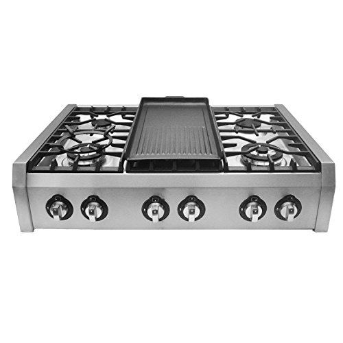 (Cosmo (S9-6) 36 in. Pro-Style Gas Rangetop with 6 Burners, with Removable Griddle and Wok Accessories in Stainless Steel )
