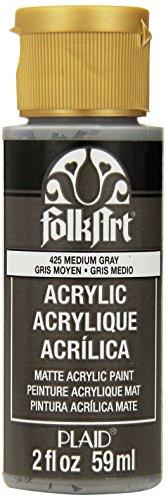FolkArt Acrylic Paint in Assorted Colors (2 oz), 425, Medium Gray