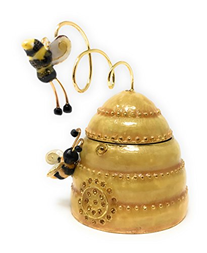 Enameled Box (Enameled Bees on Beehive Trinket Box by Kubla Craft, Accented with Austrian Crystals, 3.75T)