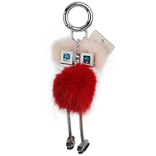 Classy Handmade Fluffy Key Chain - Genuine Fox/Rabbit Fur Hair - Fashionable Trendy Decoration for Handbags, Purse, Tote, Wallets, and More - Cute Gift for Women and Girls with Gift (Fur Genuine Handbag)