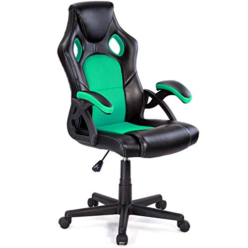 Saddle Reclining Leather - Giantex Executive Racing Office Chair W/360 Degree Swivel, Adjustable Height and Ergonomic Leather Bucket Seat Computer Desk Task Reclining Gaming Chair (Green)