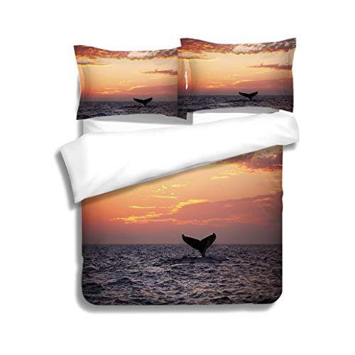 MTSJTliangwan Duvet Cover Set Tail fin from Diving Humpback Whale at Sunset 3 Piece Bedding Set with Pillow Shams, Queen/Full, Dark Orange White Teal Coral