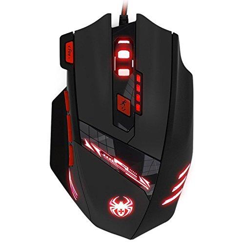 KingTop Gaming Maus für Pro Gamer 9200dpi mit 8 Tasten,LED,USB-Wired Maus optisch