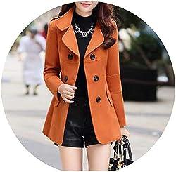 Ladies Woolen Coat Winter Clothes For Women Imitation Of Cashmere South Korea Clothing Orange Xxxl