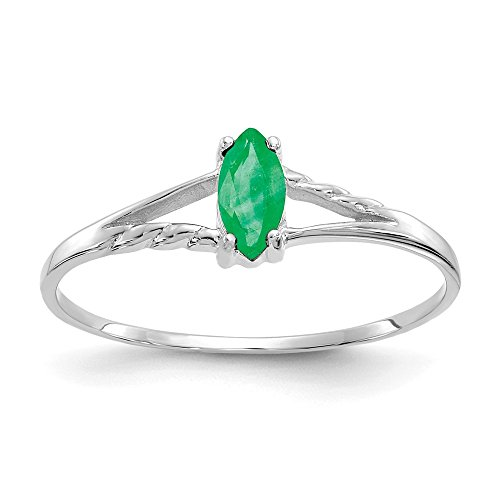 Jewels By Lux 14k White Gold Emerald Birthstone Ring