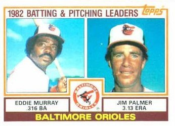 1983 Topps #21 Eddie Murray / Jim Palmer - Baltimore Orioles (Team Leaders) (Baseball Cards) (Card Jim Palmer)