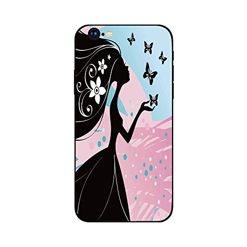 Phone Case Compatible with iphone6 Plus iphone6s Plus MobilePhoneProtectingShell BrandNew Tempered Glass Backplane,Spring,Silhouette of Madam Butterfly Floral Head in Soft Background Artwork,Black ()