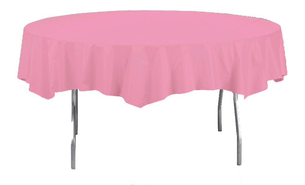 Creative Converting Octy-Round Plastic Table Cover, 82-Inch, Candy Pink 703042