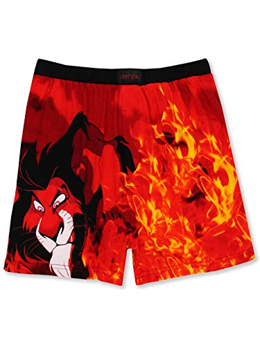 (Disney The Lion King Scar Hyenas Mens Briefly Stated Boxer Lounge Shorts (Large, Black/Red))