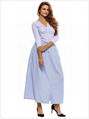 MTX-Girl cloth Jupe Taille Haute Fendue Raye Bleue Et Blanche, Bleu, m