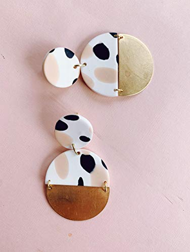 Pink Clay and Brass Earrings/Modern Abstract Dangle earrings/Lightweight Dangle and drop Hypo-allergenic statement earrings/gift for her