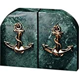 Green Marble & Brass Anchor Bookends by Bey-Berk