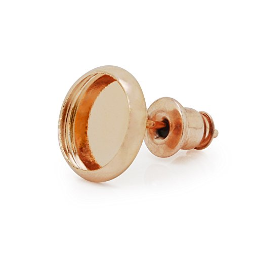 50PCS earring stud with round bezel,brass filled ,fit 8mm round cabochons, Rose Gold Gold Filled Bezel