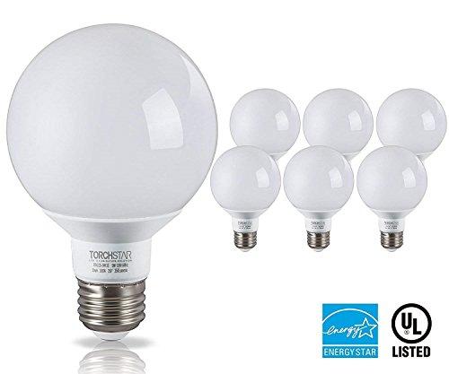 Frosted Led Bulb - G25 Globe LED Light Bulb, 5W (40W Equiv.), 360°Uniform Light Energy Star, Damp Location Available, 3000K Warm White Vanity Bulb for Pendant, Bathroom, Dressing Room Decorative Lighting, Pack of 6