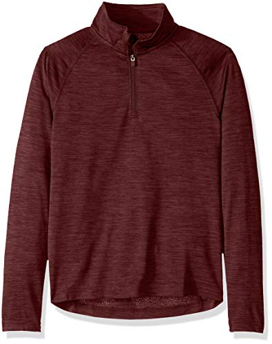 Charles River Apparel Kids Space Dye Performance Quarter Zip Pullover, Maroon, L