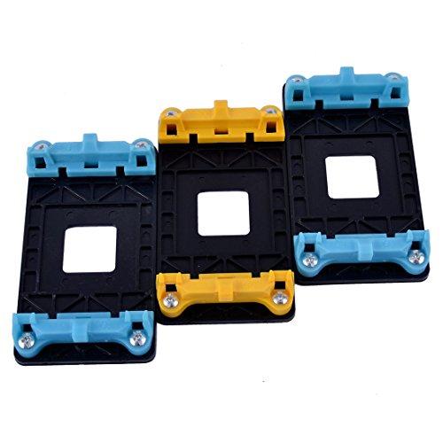 uxcell Plastic AMD CPU Fan Bracket Holder Base 3pcs Blue Yellow for AM2 AM2+ AM3 AM3+ FM1